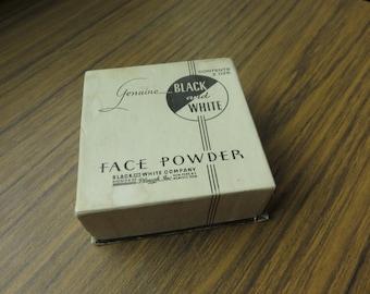 Vintage Genuine Black & White Face Powder Box 2 oz