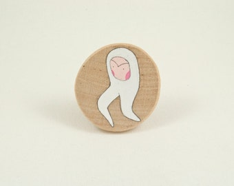 Semina hand painted wooden brooch