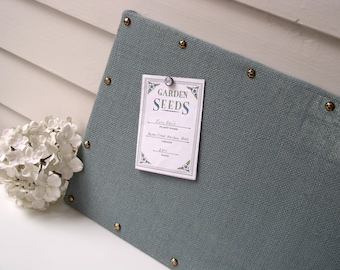 Organizer - Burlap Memo Board - Slate Blue Fabric MAGNETIC Bulletin Board 12 x 24 inches with Hardwood and Brass Upholstery Nail Head Tacks