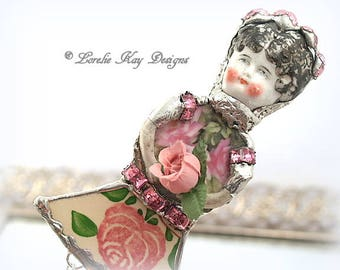 Belle Roses Doll Brooch Ornament Broken China Art Doll Flowers Mixed Media Soldered Assemblage Art Girl Broach