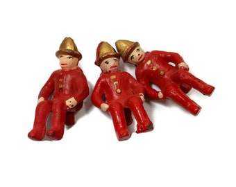 3 Vintage Cast Iron Firemen Mid Century Painted Metal Figures Red Gold Upcycle Repurpose Salvage Supply