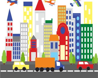 wall decals - Kids wall decals - city decal -  buildings decal -  vinyl wall decal -- nursery wall decals car truck road