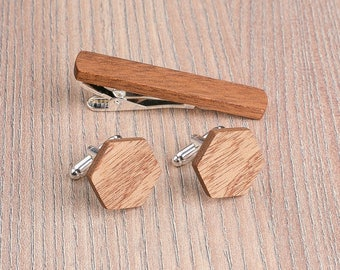 Wood Cufflinks tie Clip Set Wedding Sapele Hexagon Cufflinks. Wood Tie Clip Cufflinks Set. Personalization gift, boyfriend gift, father gift