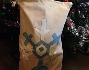 HandPainted Natural Cotton Drawstring Blue White Snowflake Santa Sack Extra Large 75x50cm