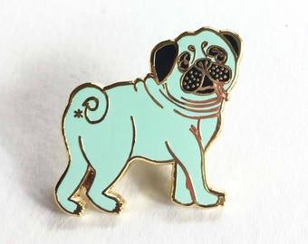 Mint Pug Butt - Gold Plated Lapel Pin