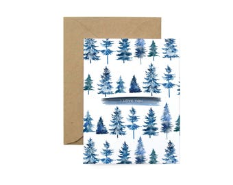 I love you blue evergreen tree Greeting Card - Illustrated Love You, Valentine's Day, Anniversary, Just Because Card