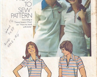 "1973 Simplicity 5515 Misses' Knit Shirt Pattern, Size 10, Bust 32.5"""