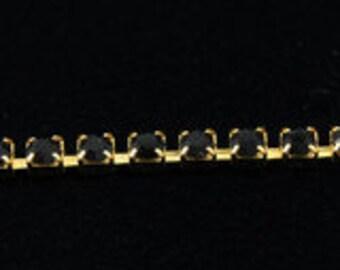 1 Foot Swarovski Rhinestone Cup Chain 12ss Jet/Gold
