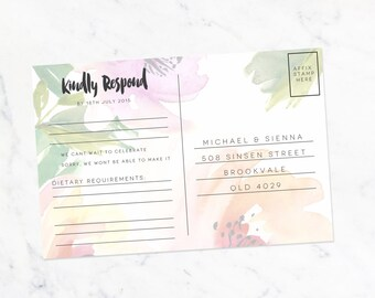 Custom Wedding RSVP Card Floral Watercolour - Printable