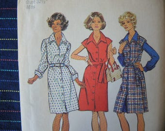 vintage 1970s Simplicity sewing pattern 6095 misses jumper and shirt dress size 10
