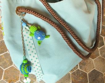 Turtle Keychain amigurumi, green and blue colors, handmade by fairy M1 Creations crochet