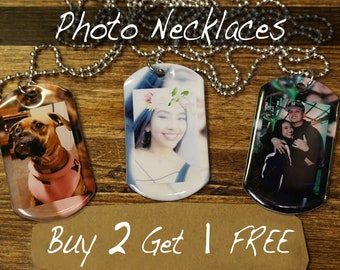 buy 2 Get 1 FREE Photo Necklaces. Photo On Necklace, Photo Jewelry, Picture Necklace, Keepsake, Personalized Photo Necklace