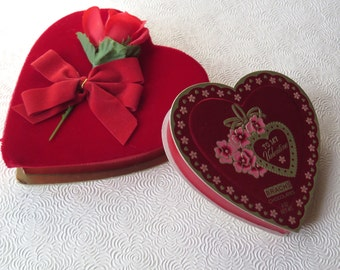 Valentine Candy Chocolate Heart Boxes Velvet Foil Roses Bauer Brach 1980s Valentine's Day Gift Box Love Assemblage Craft