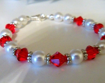 Bracelet, Red  Crystals,  Pearl, Bridesmaid Jewelry Red Jewelry, Pearl Jewelry, Crystal Jewelry, Wedding, Red Bracelet, Pearl Bracelet