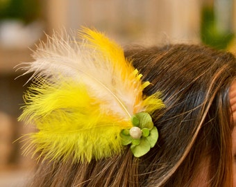 Yellow & Green Feathered Headdress
