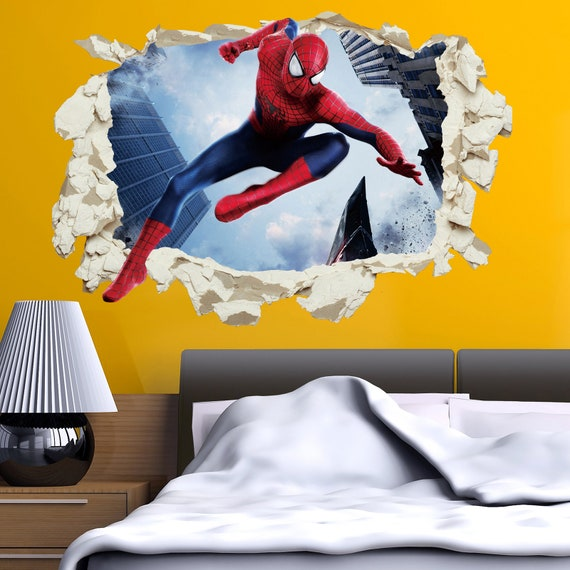 Spider-Man Spiderman 2018 Wall Stickers Decal Crack Home Decor