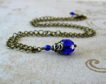 Cobalt Blue Pendant Vintage Style Necklace Dark Blue Romantic Jewelry Victorian Inspired Bridesmaid Necklace Blue Wedding Party Jewelry