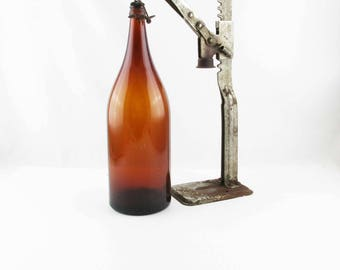 Rusted Steel Bottle Capper and Amber Bottle -  Home Brewers - Beer - IPA Brewers - Rustic - Beer - Decorate or Use - Micro Brewery Display