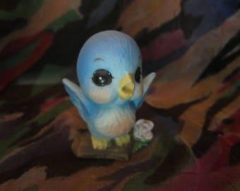 Blue Chick Baby Bird Figurine