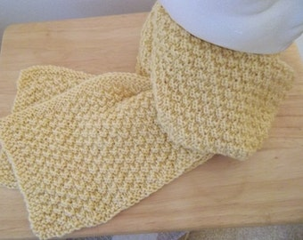 Shawl - Hand Knitted Long Shawl for Men or Women or Children in Yellow