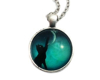 Cat Moon Necklace, Cat Moon Pendant, Charm Necklace, Charm Jewelry, Cat Moon Jewelry, Cat Lover Jewelry, Cat Jewelry, Black Cat Moon Charm