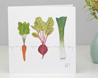 Vegetable Greetings Card - Vegan Card - Gardeners card - Allotment card - Thank You card - Dad card - Farmers Market card - Card for Foodie