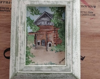 Miniature Watercolor Painting of Old North Carolina Tobacco Barn, ACEO, Shabby Frame