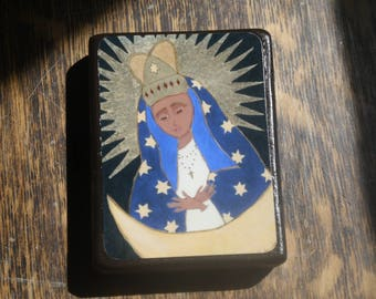 3.5 X 2.5 ish inches Mary on the Moon Icon Print on Wood