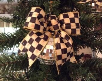 Designer Holiday Ornaments  Set of 6   Mirrior balls