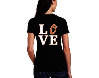 Baltimore Love Orioles Front and Back Ladies Black V T-shirt