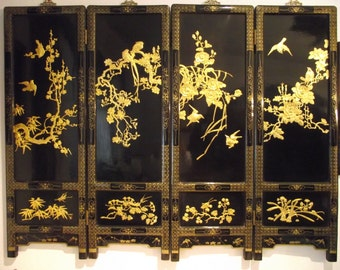 Black Lacquer Screen wooden with 24 kt gold  relief/China