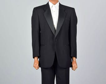 41R 36x27.5 Mens Black Tuxedo Two Piece Tuxedo Tux Formal Evening Wear Single Button Jacket Abriani 1990s 90s Vintage