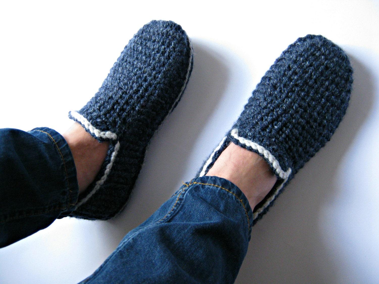 Felt Soles Crochet Slippers House Slippers Men Loafers