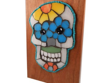 Day of the Dead Sugar Skull Stained Glass Mosaic on Cherry Wood