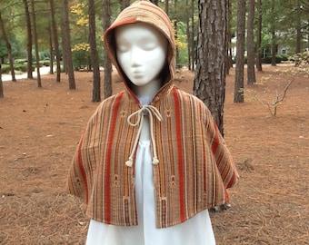 Boho Earthtone Handmade Hooded Fashionable Girls Capelet