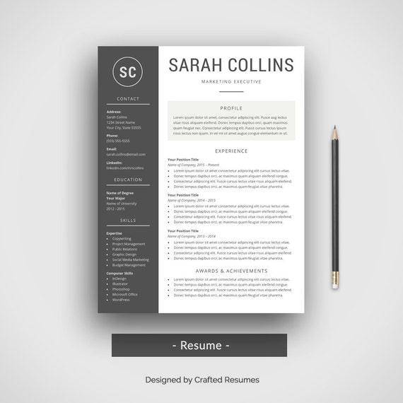 Modern Resume Template Cover Letter CV Template Simple