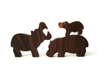 Wooden Hippopotamus Family Hippo Mother Father and Baby Waldorf Wood Toy Zoo African Animals Child Safe