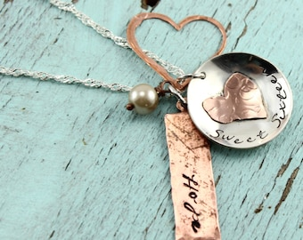 Will NOT ship until 7/9/18Sweet 16 Custom Sterling Silver and Copper Necklace   Handstamped Personalized Jewelry   Mother Daughter Necklace