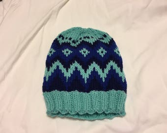 Fair Isle Chevron Knit Hat