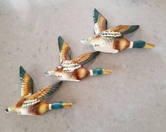 Vintage Flying Ducks/Wall Ceramic/Graduating 3 Ducks
