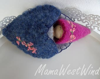 Spring Gnome in a sleeping pouch, Waldorf Valentine Doll, girl Valentine, flowers, large peg doll, pink, blue, gray, wool, upcycled, eco toy