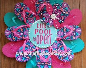 "Unique & Beautiful  ""The Pool is Open"" Flip Flop Wreath Beach Door Decor Patio Coastal Deck Beachy"