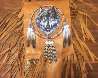 Hand painted wolf - dreamcatcher bag  wholesale lot  x 6