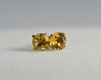 Citrine earrings   sterling silver, 6mm round, natural quartz, Yellow earrings, citrine studs, citrine jewelry,november birthstone,valentine
