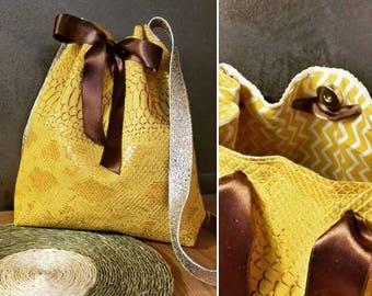 Bag bucket imitation leather bucket bag effect Christensen snake satin ribbon