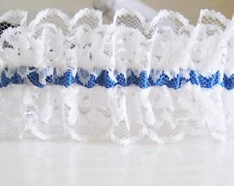 Bridal garter • white • Royal blue color satin ribbon lace (Royal Blue, royal, dark blue, sapphire blue) • wedding