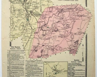 Boylston & West Boylston, Massachusetts. 1870 Map by FW Beers. Hand Colored. Antique Original Map