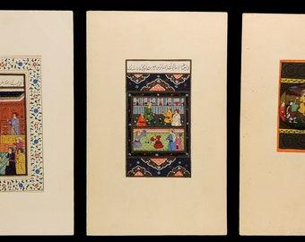 3 Indian Miniature Paintings Gatherings Original African Art 95647