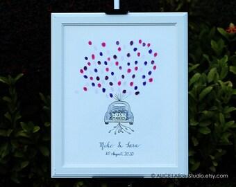 Custom Wedding Guest Book Just Married Wedding Car - Original Art - Hand-Drawn Guest Book - Fingerprint & Signatures