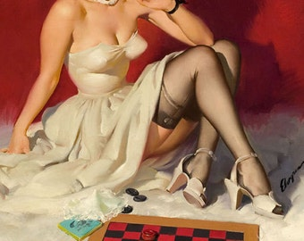 ELVGREN - YOUR MOVE  - Pinup - Romantic Flirting exposes garters, nylons, stockings, board games, checkers, Pin-Up 12x18